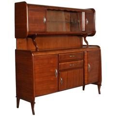 Mid-Century Credenza Sideboard Cantù Production with Showcase Art Deco Walnut