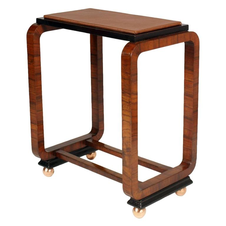 Art Deco Side Table by Osvaldo Borsani Burr Walnut, Top in Leatherette For Sale