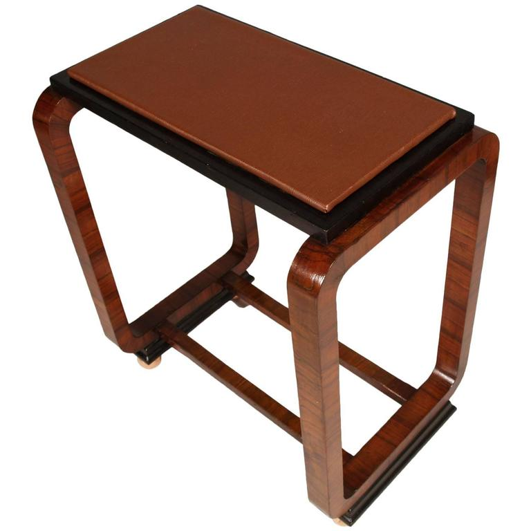 Art Deco side table by Osvaldo Borsani in burr walnut, top in leatherette, feet coppery.