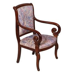 Empire-Style Chair with Armrests, Late 19th Century, Carved Solid Mahogany