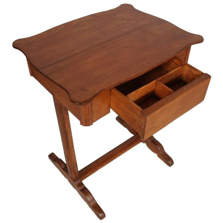 Early 20th century Biedermeier country small table desk massive larch wood with drawer. Austrian origin Useful as a side table or desk or worktable.  Measure cm: H 78 x W 61 x D 48  .