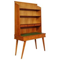 Mid-Century Modern Desk with Bookcase Maple Wood Ico Parisi Style Period, 1950s