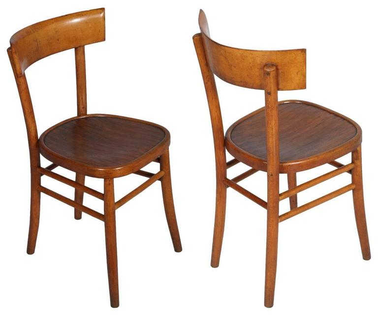Mid-Century Modern six chairs ISA Bergamo, beech shaped, sitting pressed and grooved.