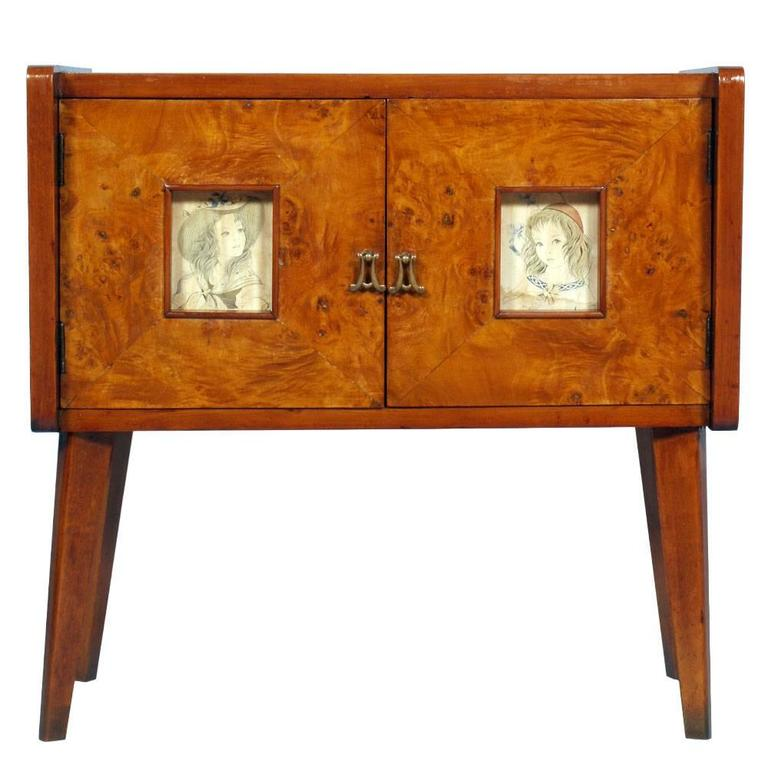 art deco cabinet sideboard meroni and fossati gio ponti style walnut elm burl for sale at 1stdibs. Black Bedroom Furniture Sets. Home Design Ideas