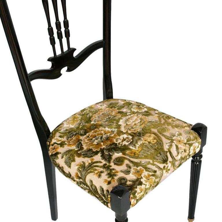Italian Pair of Chiavari High Back Chairs by Gaetano Descalzi, Ebonized Mahogany In Good Condition For Sale In Vigonza, Padua