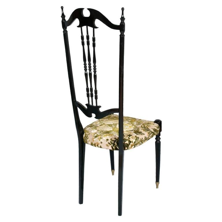 Elegant early 20th century pair of Chiavari high back chairs, Italy, mahogany ebonized.  Re-upholstered  Measure in cm: L 41, W 41, H 122/48.