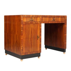 Art Deco Gaetano Borsani Desk in Walnut Slab, Flame Applied, Feet Ball Coppery