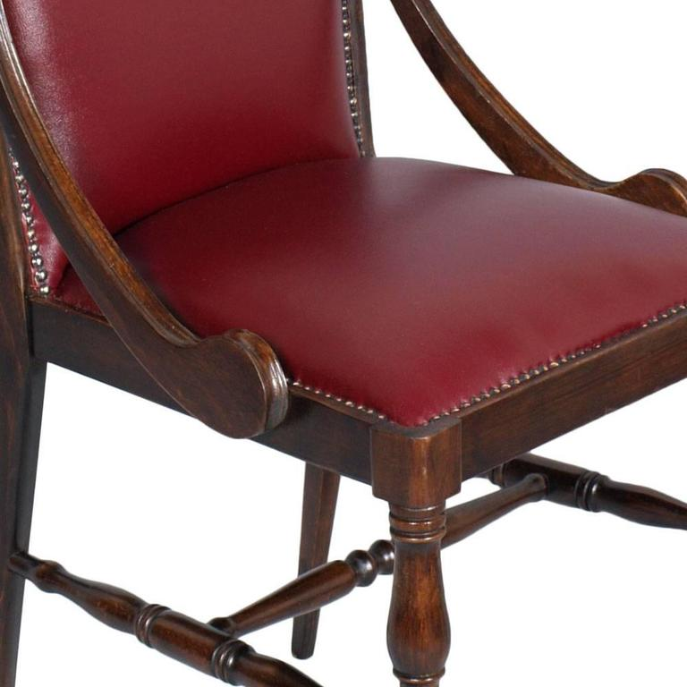 Restored Chair Armchair Empire of the Art Deco Period in Walnut and Leather 2