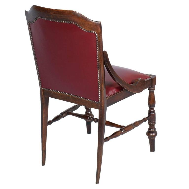 Restored Chair Armchair Empire of the Art Deco Period in Walnut and Leather 3
