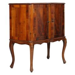 Early 20th Century Buffet Cabinet in Walnut Hand-Carved, Slab Applied, Inlaids