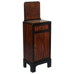 Art Deco 1940s Bedside Cabinet with Drawer Marble Top Walnut with Inlais