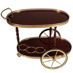 Early 20th Century Italian Bar Cart Gilt Brass Tops in Mahogany Vetrified, 1920s