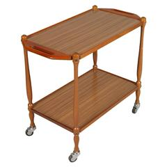 Mid-Century Modern Bar Cart in Beech and Formica, Period 1950s
