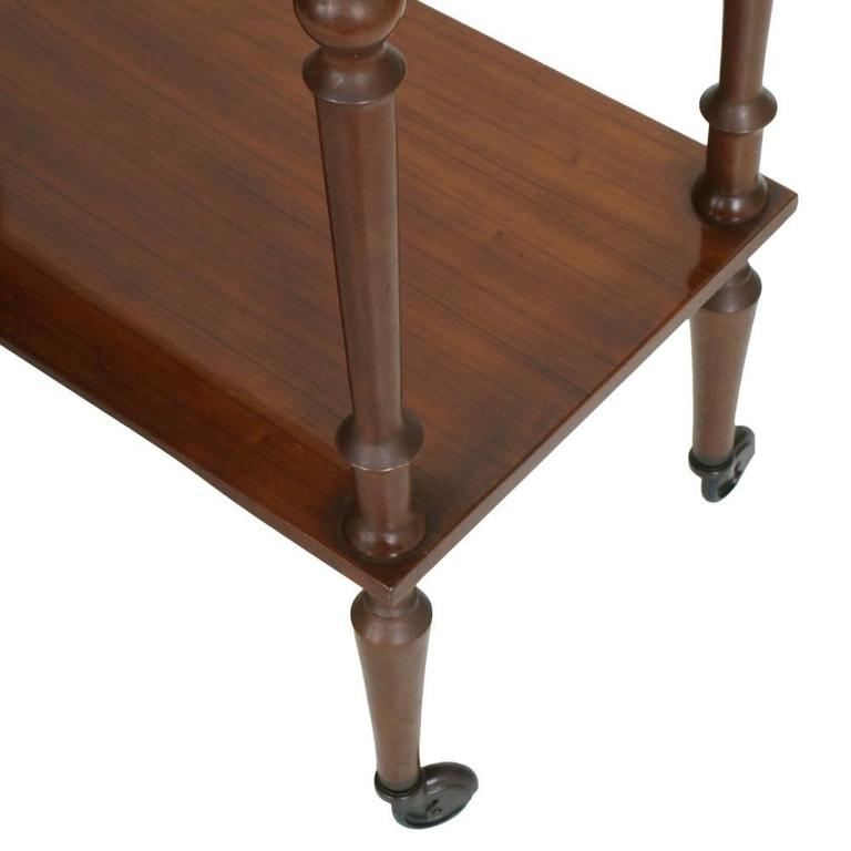 Appliqué Mid-Century Modern Italian Sliding Side Table in Mahogany and Turned Legs For Sale