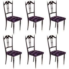 Mid-Century Modern Italian Set of Six Chiavari Chairs Restored and Reupholstered