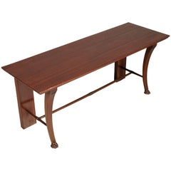 Late 19th Century Art Nouveau Carved Massive Mahogany Bench