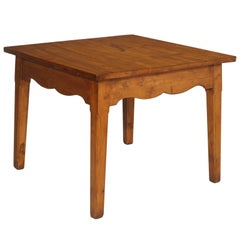 Square Table in Solid Larch Rustic Mountain Style Art Deco, 1920s