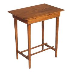 Early 20th Century Side Table in Solid Pine Restored Polished with Shellac