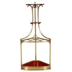 Corner Umbrella Stand Art Nouveau in Brass and Oak Attributable Josef Hoffmann