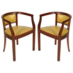 """1930s Pair of """"Pozzetto"""" Chairs Art Deco in Walnut Coating Original Leatherete"""