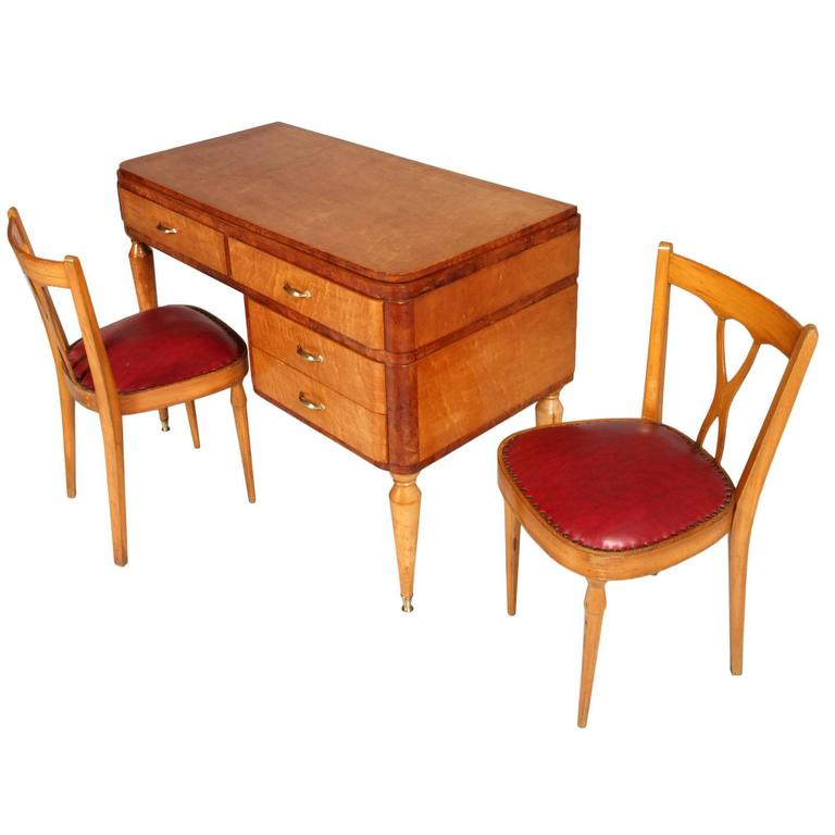 Brass Desk and Dressing Table, with Mirror Style of Ulrich, circa 1936, Vanity Table For Sale