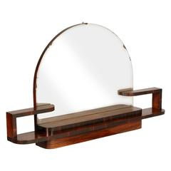 1940s Art Deco Wall Mirror in Burl Walnut by Osvaldo or Gaetano Borsani