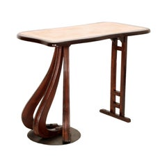 Ulrich or Carlo Mollino style side occasional Table, shelf , console, in walnut
