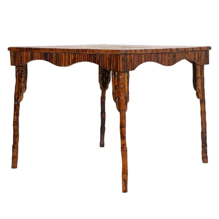 Italian Unobtainable Fabulous Art Deco Bamboo Lacquered Table For Sale