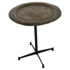 Coffee Table, Enamelled Engraved Brass Plate Top, Manner Osvaldo Borsani, Tecna