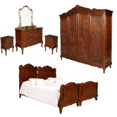 Superb Italy Baroque Massive Carved Walnut Complete Bedroom Sets