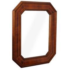 Mid-Century Modern Mirror with Octagonal Frame in veneered Walnut , inlaid