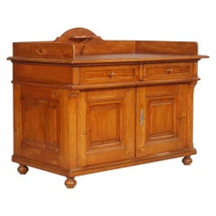 Late 19th century Tyrolean Sideboard buffet, Solid Larch, restored wax polished