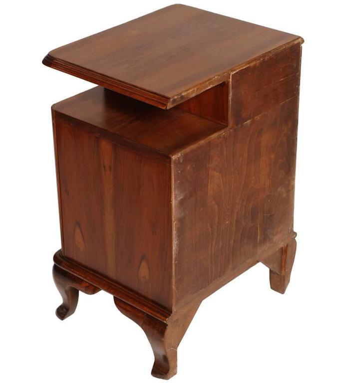 Appliqué 1920s Italian Baroque Bedside Table Nightstand Massive Walnut and Walnut Applied For Sale
