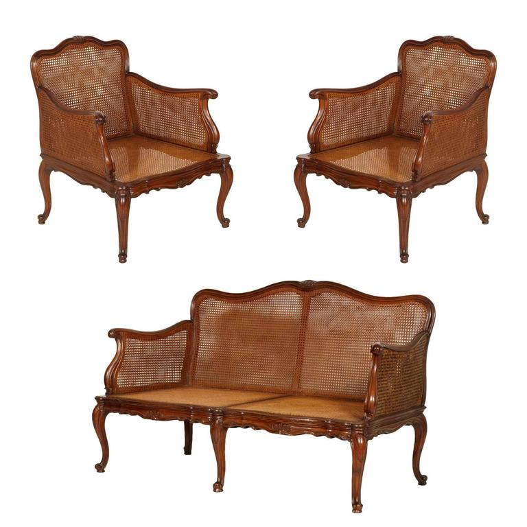 19th Century Venice Cadorin Sofa And Pair Of Armchairs Vienna Straw Hand Carved For