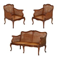 19th Century Venice Cadorin Sofa and Pair of Armchairs Vienna Straw Hand-Carved