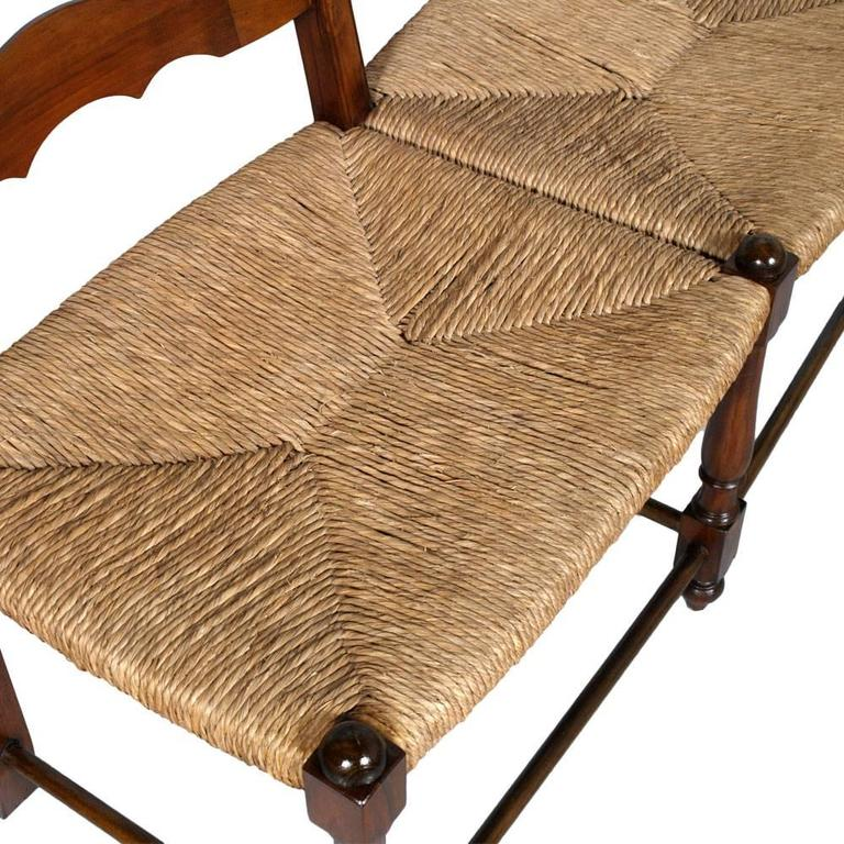 Antique Country Bench Seat, Turned Wood, with Straw Seat of the 1920s In Good Condition In Vigonza, Padua
