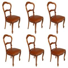 Italian Mid-Century Six Sturdy Revival Baroque Chairs