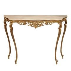 Early 20th Century Venetian Rococo Gilt Bronze Console, V. Cadorin Manner