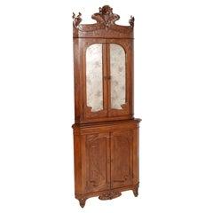 Sculptural Art Nouveau Corner Vitrine Cabinet by Vincenzo Cadorin Carved Walnut