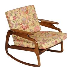 Mid-Century Modern Danish Rocking Chair by Adrian Pearsall Blond Walnut Texture