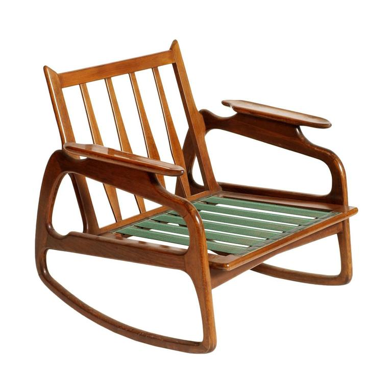 Mid Century Modern Danish Rocking Chair By Adrian Pearsall Blond Walnut  Texture In Excellent Condition