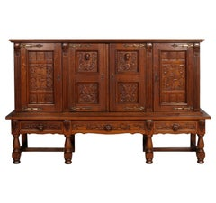 Early 20th Century Carved Sideboard Cabinet Bookcase, Spanish, Renaissance Style