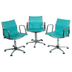 1960s Set Desk Chairs, Chromed Steel, Leatherette Upholstered, Adjustable Height