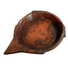 Antique Big Tirolean Hand-Carved Chestnut Wood Basin Bowl, Nice How Centrepiece