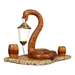 Art Deco Snake Lamp, Ashtray Service Cigarettes, Hand-Carved Blond Walnut