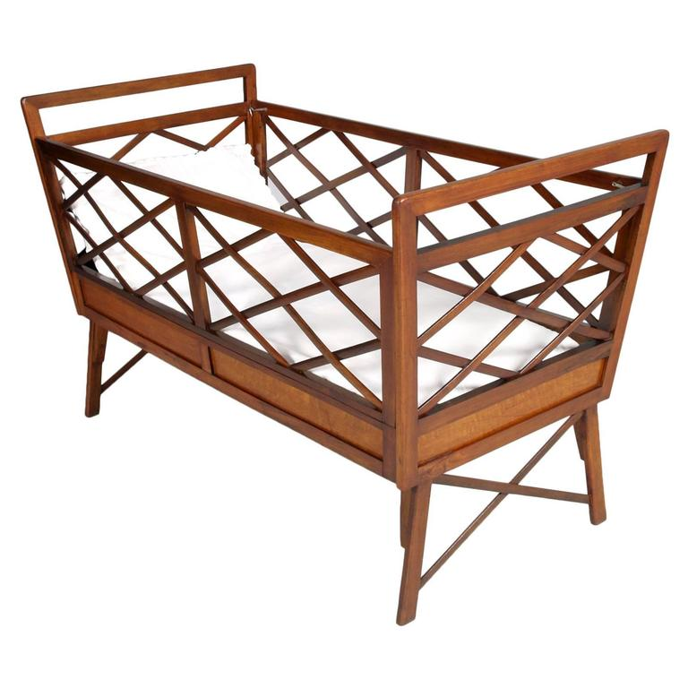 Mid Century Modern Baby Bed Franco Albini Manner All Massive Walnut  Restored For Sale