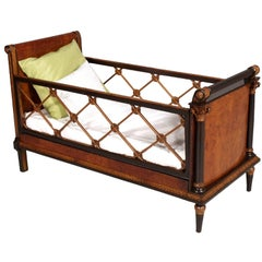 Neoclassic Empire Baby Bed Cot in Burl Walnut, Walnut and Carved Maple