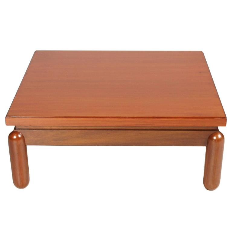 Mid-Century Modern coffee centre table in Afra & Tobia Scarpa Style 1970s in turned beech and walnut applied. Restored and finished to shellac