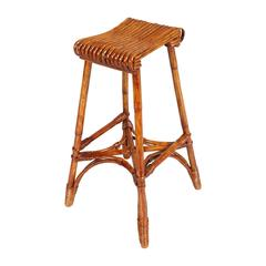 Mid-Century Modern Bamboo Stool in Franca Helg Manner