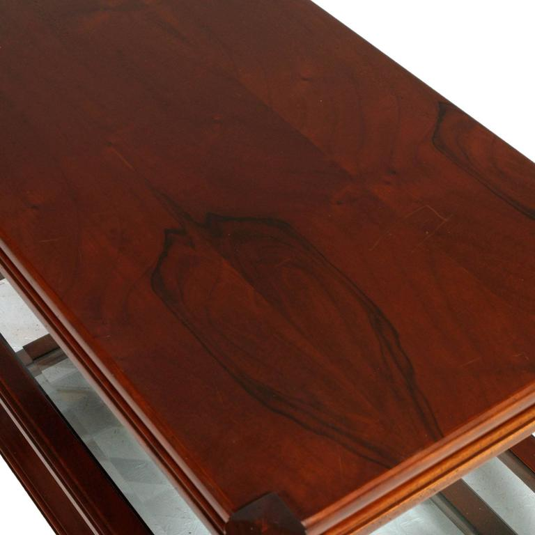Mid-Century Modern Coffee Table Bar Cart Mahogany